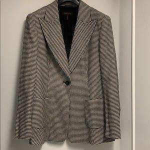 Escada Sz14 black/cream check wool/cotton blazer
